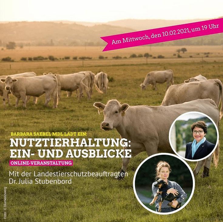 Nutztierhaltung: Ein-und Ausblicke mit der LandestierschutzbeauftragtenDr. Julia Stubenbord und Barbara Saebel MdL